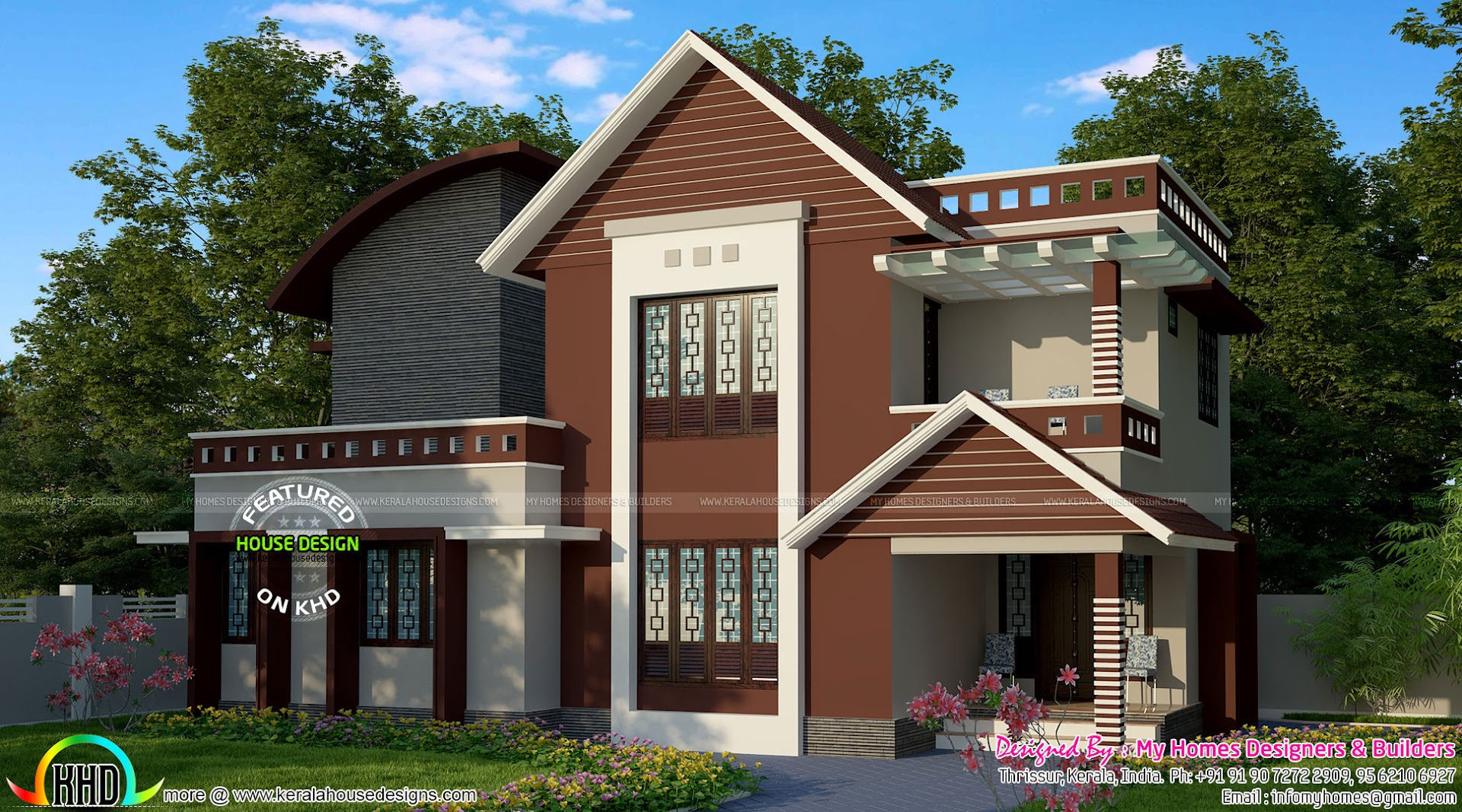 1700 sq ft modern mix roof house kerala home design and for 1700 feet to meters