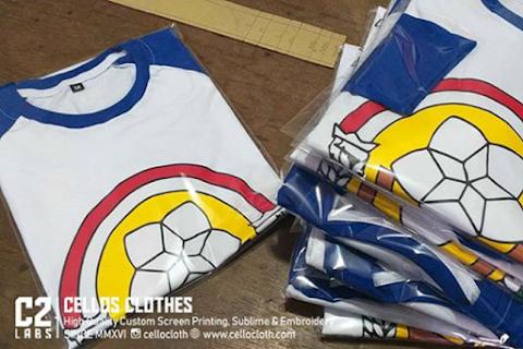 Sablon Kaos Reuni Logo Osis Raglan Kombinasi Biru Putih - Kaos Reuni
