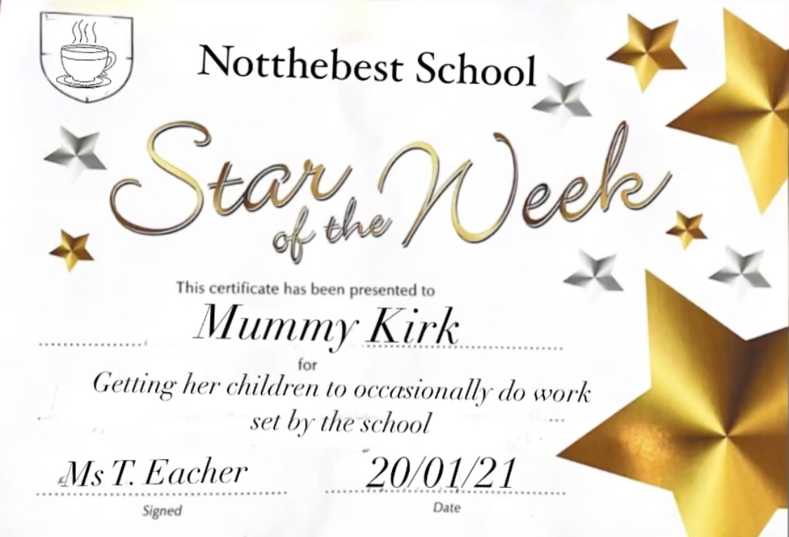 Doctored Star of Week certificate to recognise Mummy effort