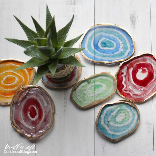 Faux agate slices made with easy cast resin and translucent dyes