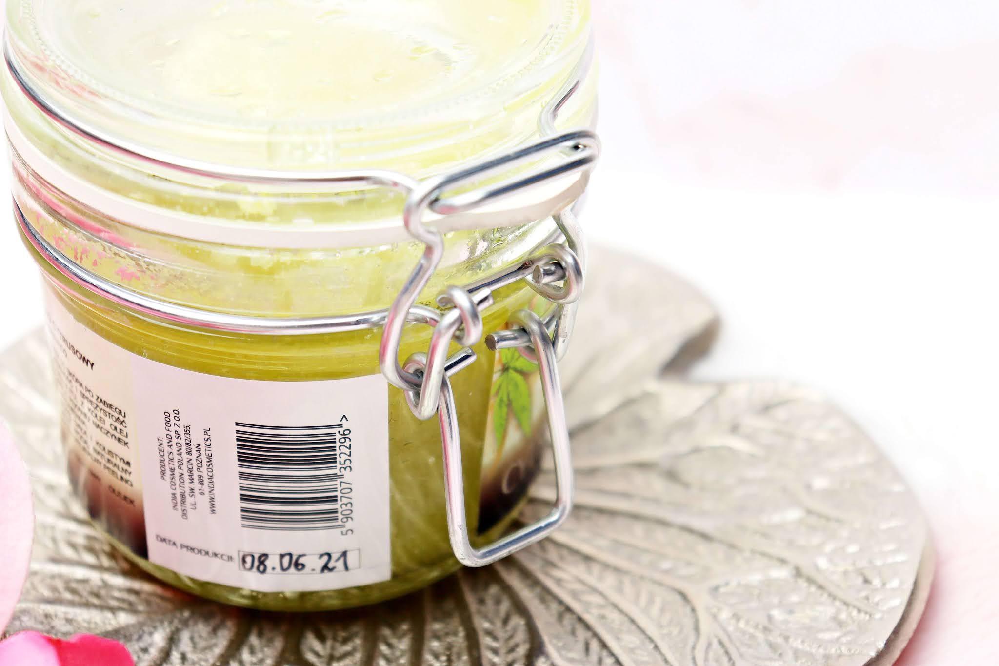 India Cosmetics Naturalny peeling cukrowy z olejem konopnym cytrusowy