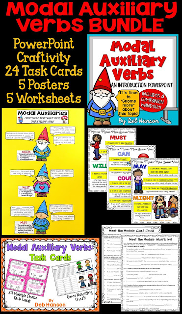 Address the common core standard L.4.1.C (modal auxiliary verbs) with these resources! This bundle includes a PowerPoint, craftivity, task cards, posters, and worksheets!