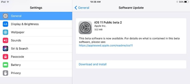 Apple seeded iOS 11 Public Beta 2