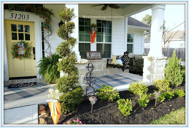 Cottage -Farmhouse- Easter -Front- Porch- DecorTulip-Carrot-Wreath-Porch-Swing--From My Front Porch To Yours