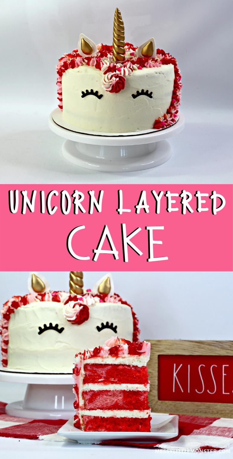 Unicorn birthday cake. A magical but easy unicorn layered cake.