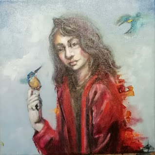 Portrait, Galleriayoellploger, Ayoe, Lise, Lysgaard, Pløger,  kingfisher, isfugl, Friend, natur, Menorca pulsar, portrait, woman, landskab, landscape,  paint, galeri, colourful