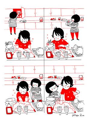 Ilustração mostra Luke lavando a louça. Ao fundo é possível ver Philippa passando pela cozinha para fazer um lanche.
