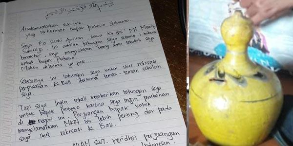 Viral! Siswa SMA Sumbangkan Tabungan untuk Perjuangan Prabowo-Sandi