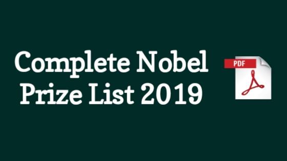 Complete Nobel Prize Winner List 2019 PDF