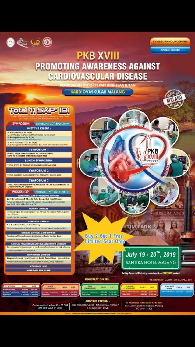 PKB Cardiovascular XVIII Simposium & Workshop (19-20 July 2019, Santika Hotel Malang)