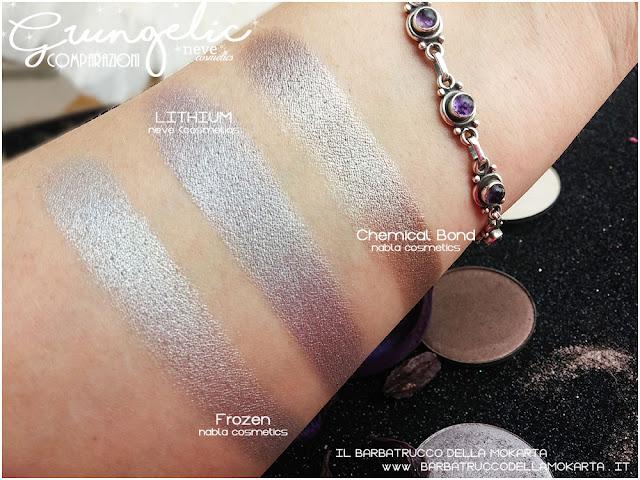 LITHIUM  comparazioni eyeshadow ombretti packaging Neve cosmetics  recensione, pareri, makeup, consigli, comparazioni