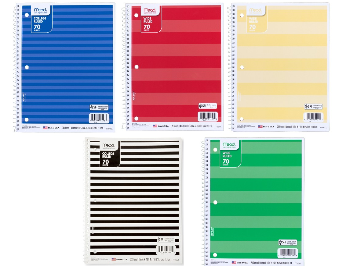 Mead College Ruled or Wide Ruled 70 Sheets Notebooks $0 36