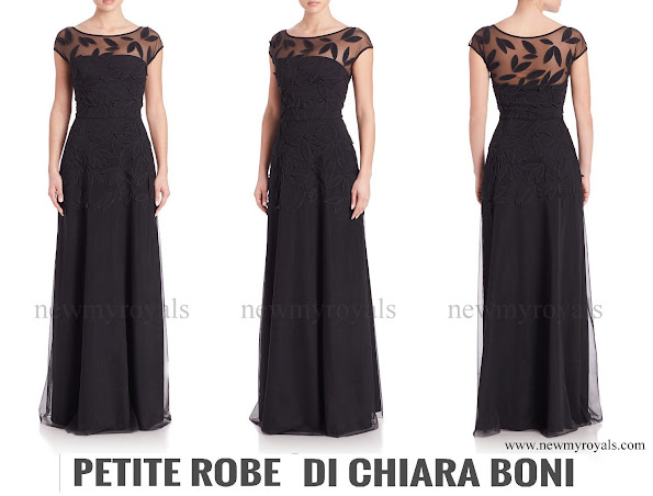 Princess Charlene Wears La Petite Robe di Chiara Boni Leaf-Detail Gown