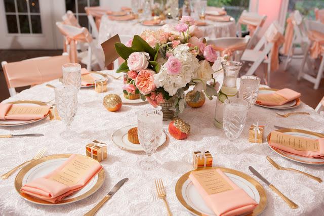 peach+orange+salmon+pink+pastel+shabby+chic+summer+spring+tea+garden+party+victorian+rebel+with+a+camera+wedding+bride+groom+centerpeice+cake+ruffle+ruffles+10 - Detail Spotlight: Peach & Gold