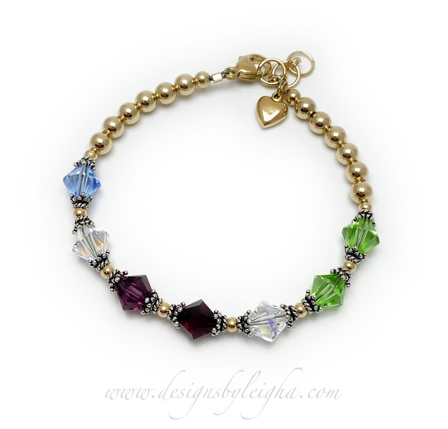 Gold Beaded Birthstone Bracelet with 7 birthstones for 7 grandkids and a  Gold Heart Charm