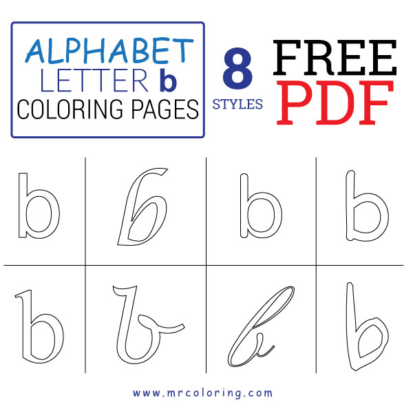 Alphabet letter b coloring pages Lowercase free pdf for kids