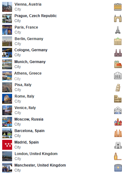 Europe Facebook travel icons