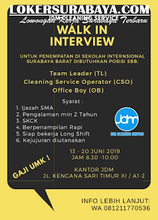 Walk In Interview di JDM Cleaning Service Surabaya Terbaru Juni 2019