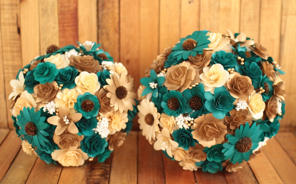 Copper Teal Wedding Bouquets Made of Wooden Flowers | Reduce. Reuse ...