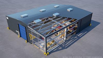 Axonométrie 3d éclatée hangar