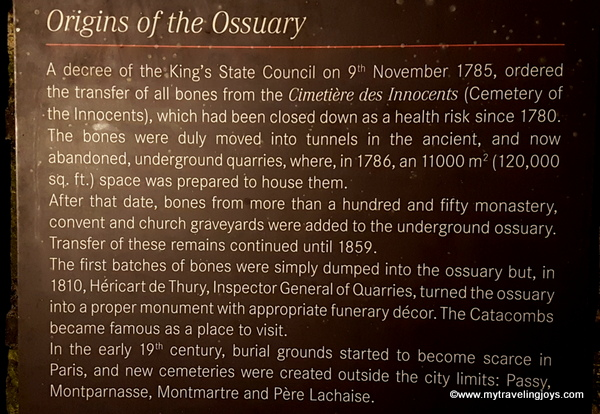History plaque in Catacombs of Paris