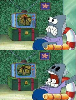 Polosan meme spongebob dan patrick 29 - ikan ungu ketakutan sampai matanya melotot