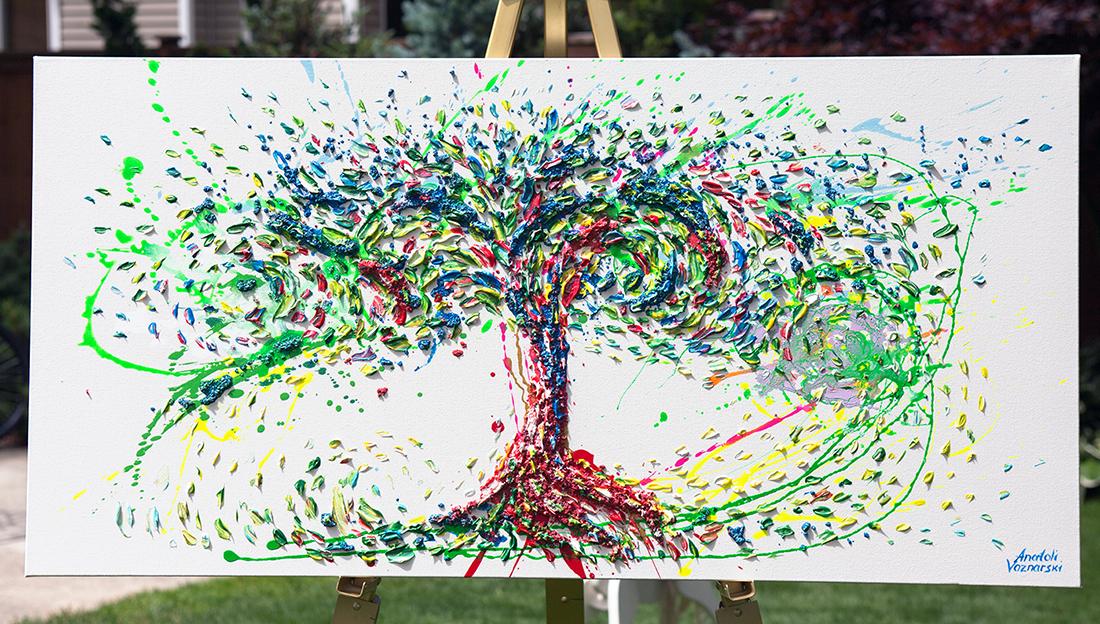 Tree of life,   tree of life painting, tree of life artwork, tree thick layers, tree textured, colorful tree, tree unique painting,tree dot, pointillism tree,  tree 3D acrylic