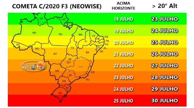 cometa neowise no brasil - mapa com dias e horários para cada estado e região