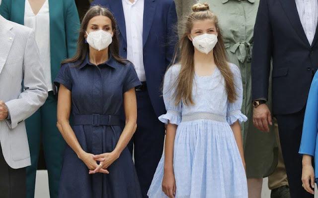 Queen Letizia wore a denim shirt dress from Carolina Herrera. Crown Princess Leonor and Infanta Sofía