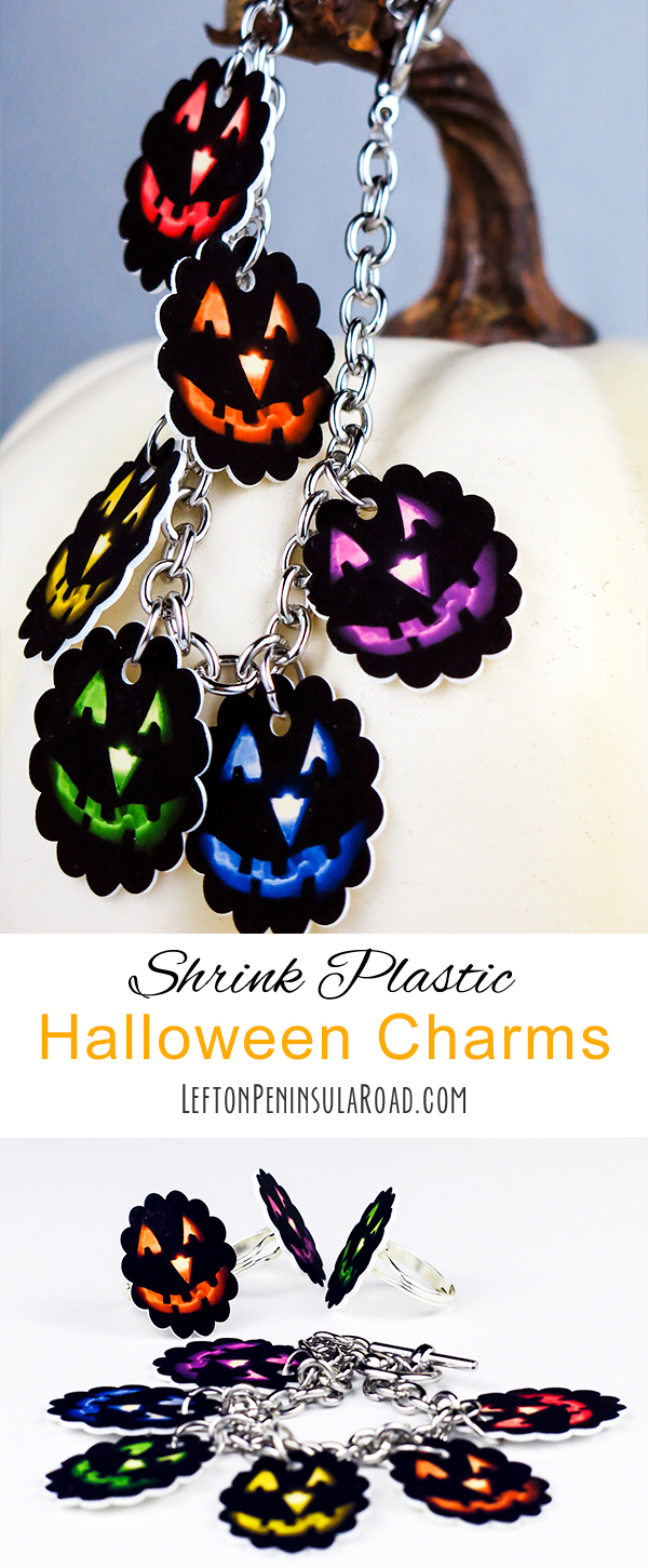 Make colorful shrink plastic charms for Halloween jewelry crafting. So fun!