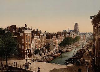 картина со старинным видом города Роттердам