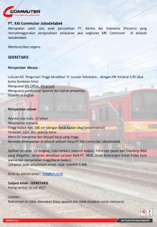 Lowongan Kerja BUMN Terbaru Kereta Api KAI Commuter Jabodetabek Terbaru Tahun 2017