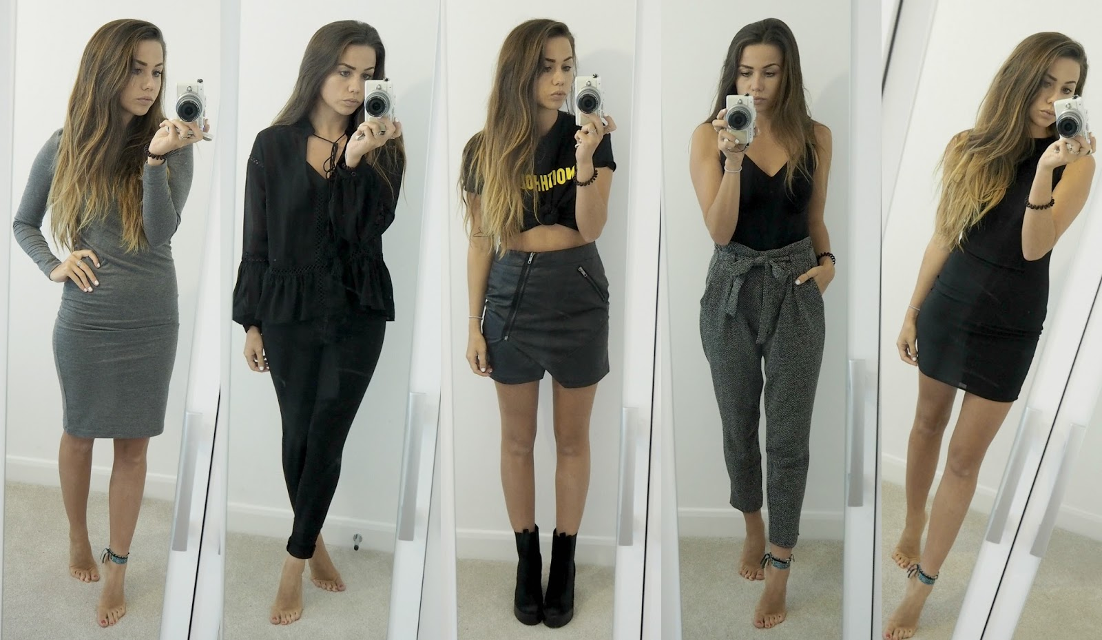 five outfits in grey and black, monochrome outfits for a week