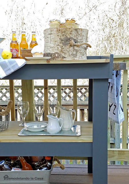 grey and wooden tone serving cart tutorial for outdoor space