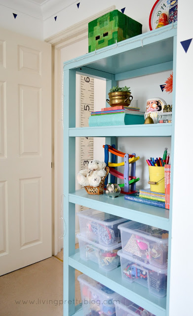 Parsons Bookcase - Blue Red Mint Kids Room Reveal - One Room Challenge