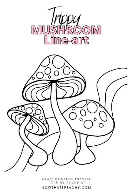 Psychedelic Mushroom line art outline Free colouring page  lineart drawing to use for art DIY tutorial teen student college crafting drawing