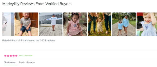 screenshot of reviews section from Marleylilly.com