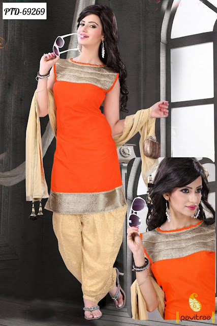 orange color silk material patiala salwar suit online for punjabi women and young girls at low price