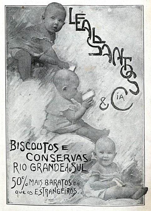 Propaganda de 1912 que apresentava os biscoito e conservas da Leal Santos & Cia.