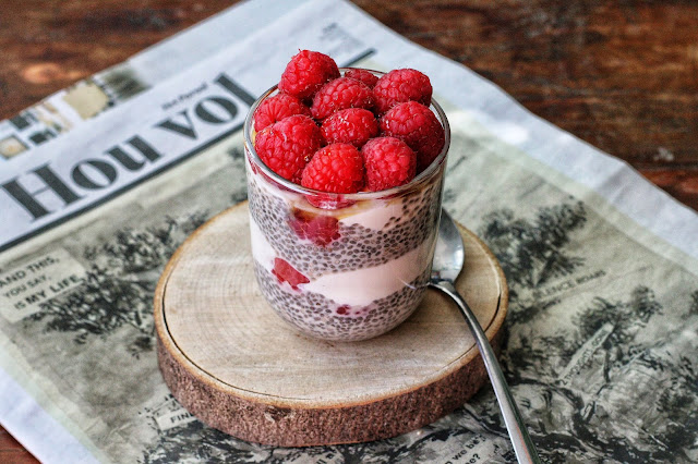 Vanilla Chia Pudding with Raspberries