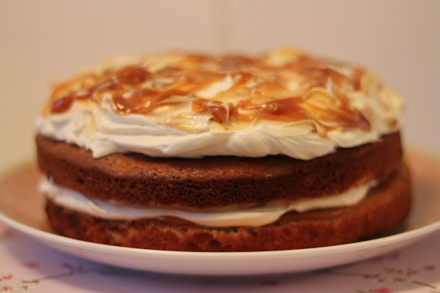 Banana and salted caramel layer cake