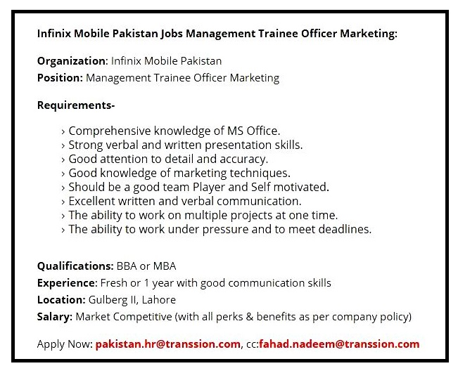 Infinix Mobile Pakistan  Latest Jobs April 2021 in Pakistan