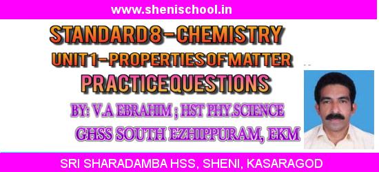 SRI SHARADAMBA HS SHENI: STANDARD VIII - CHEMISTRY - UNIT 1