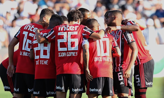 São Paulo estampa a marca Betsul no calção (Foto: Rubens Chiri / SPFC)