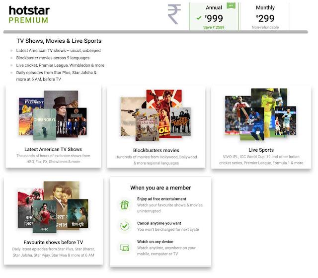 hotstar Premium plans