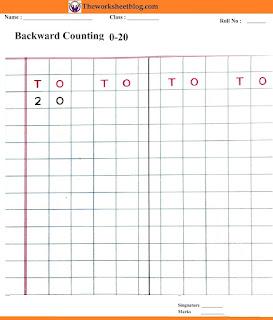 Backward counting 20-0 worksheets