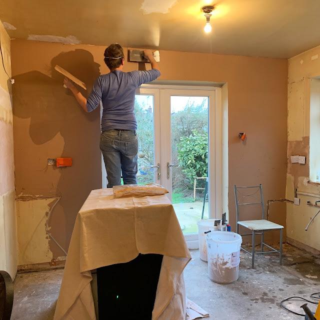 DIY plastering in kitchen