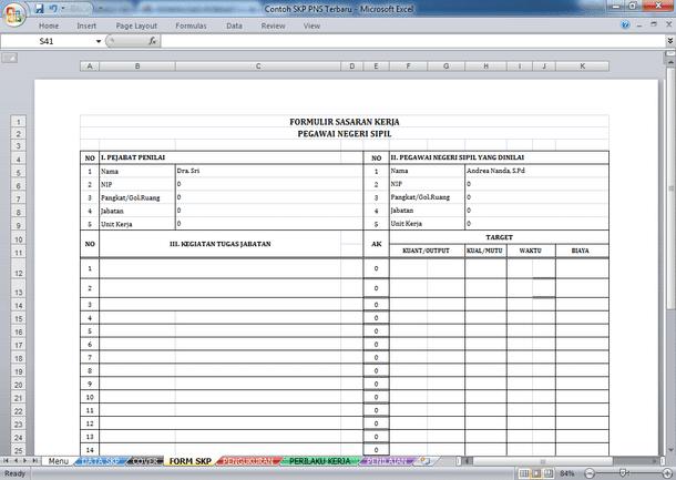 Contoh SKP untuk PNS Terbaru Format Microsoft Excel