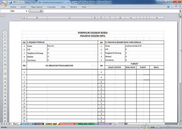 File Pendidikan Contoh Skp Untuk Pns Terbaru Format Microsoft Excel