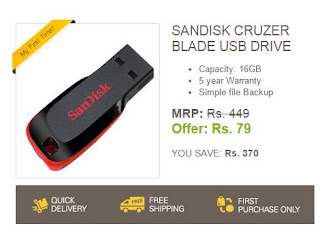eBay Loot - Sandisk Cruzer 16GB Pen Drive at Rs. 79 Only (Valid Till 11:59 p.m)